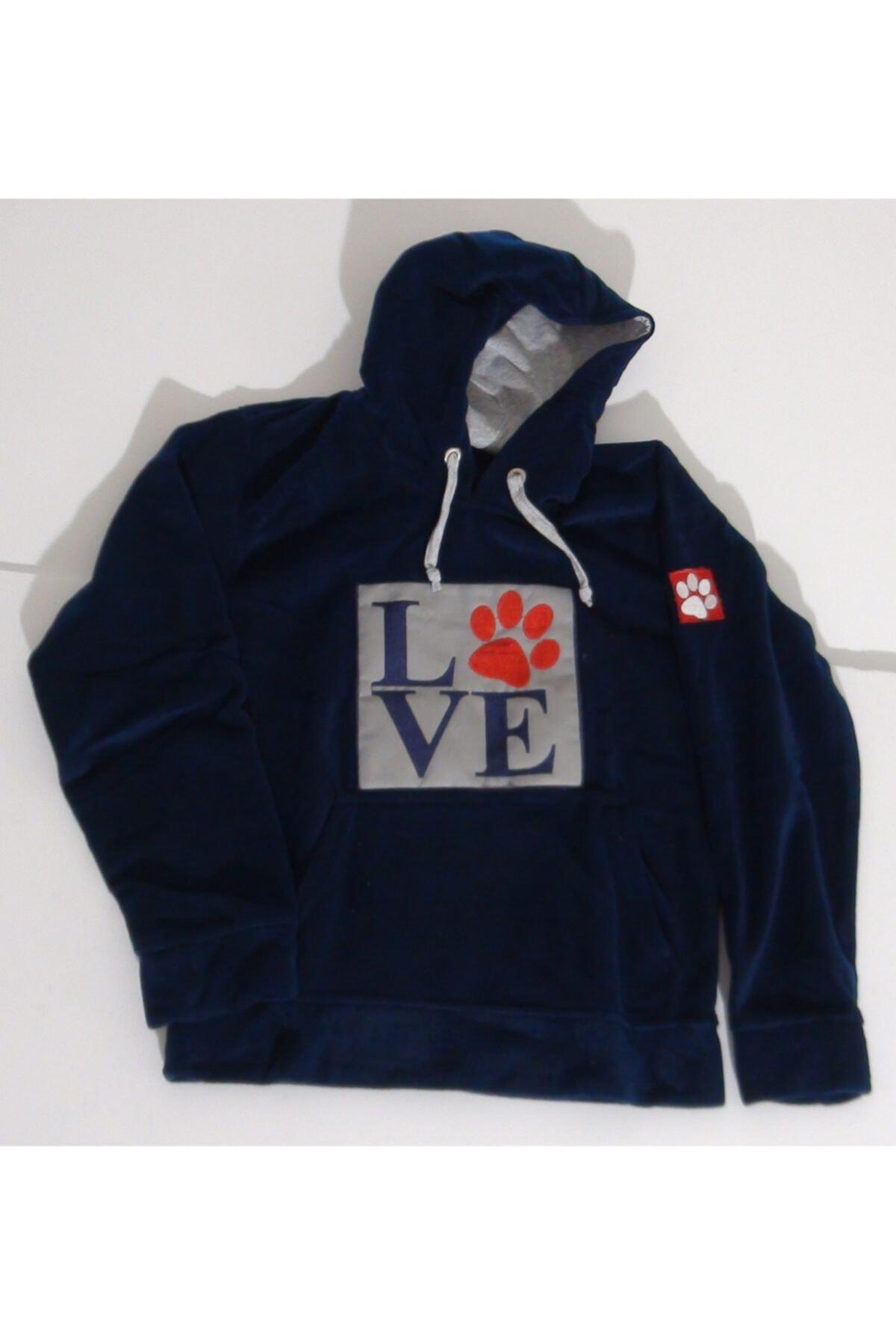 mAddog Kadın Siyah Love Kapüşonlu Polar Sweatshirt 1