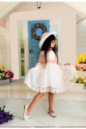 Mixie Şapkalı Güpürlü Prenses Kız Çocuk Beyaz Elbise