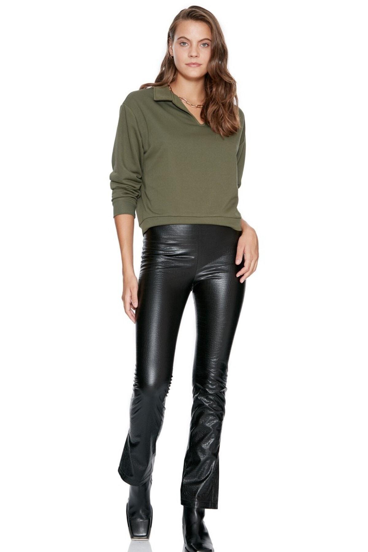 Keikei Kadın Siyah Deri Uzun Pantolon 1