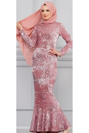 DMR Kadın Pudra Pullu Kadife Abiye Elbise