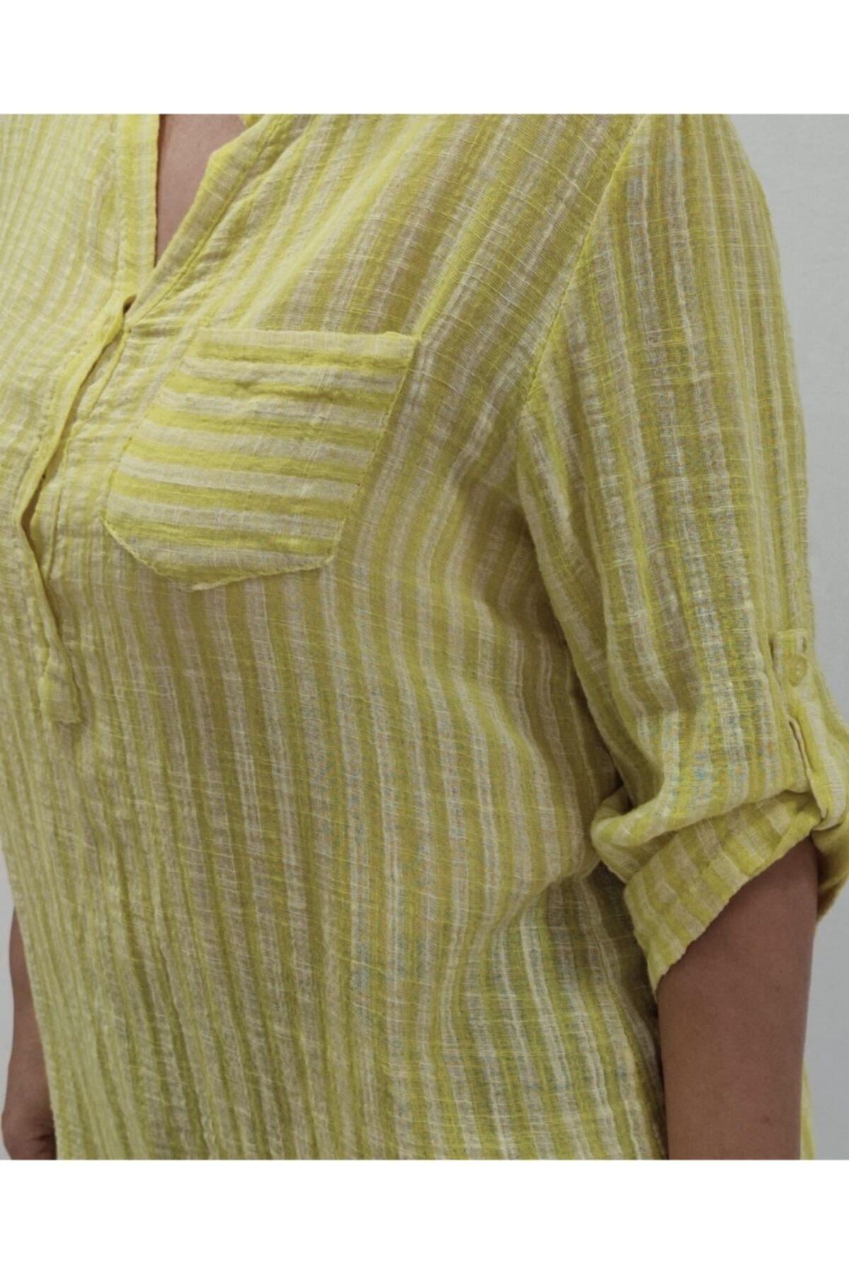 Apex Kadın Sarı Çizgili Gömlek 2