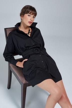 Appleline Kadın Siyah Kemer Detaylı Gömlek Elbise