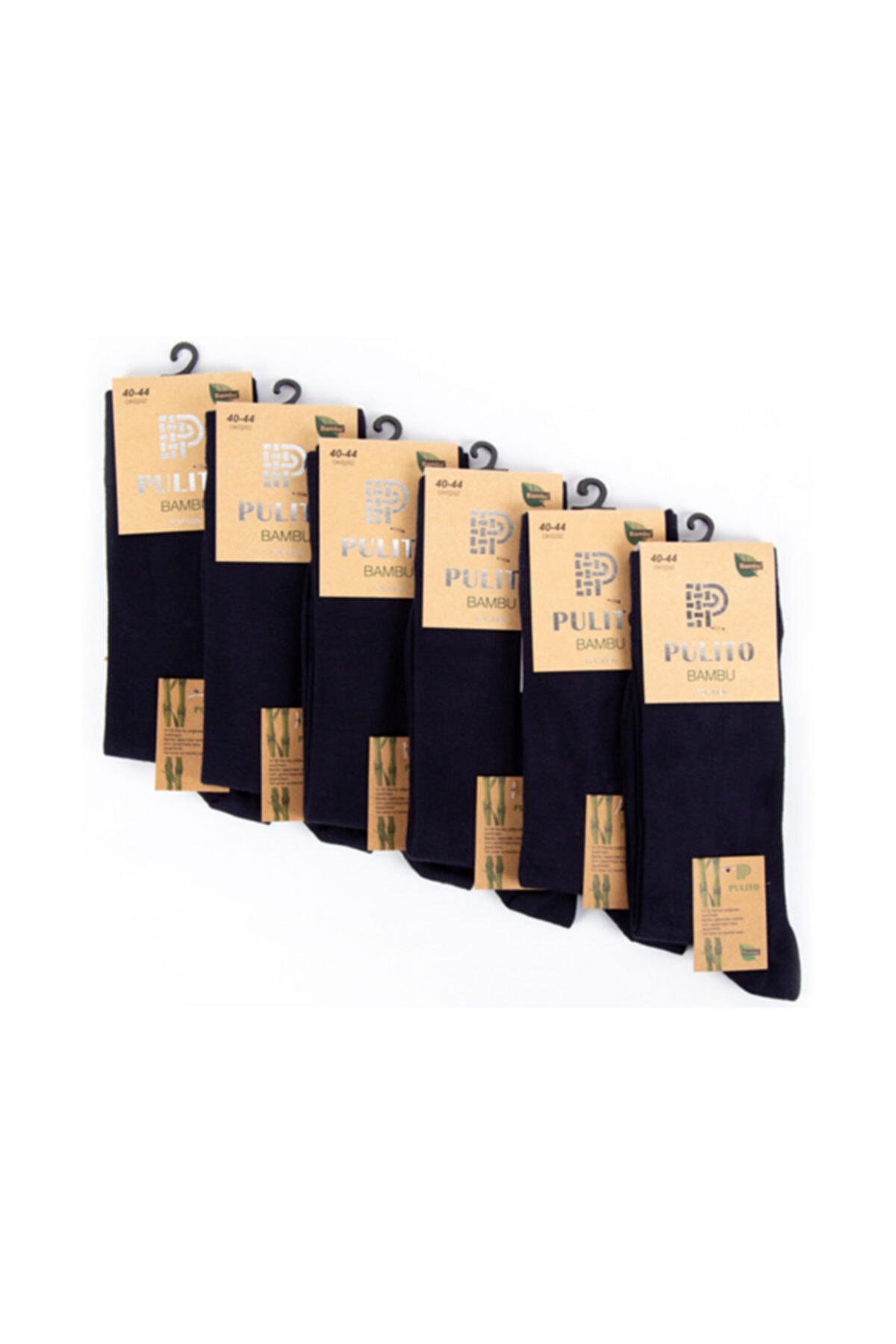 PULITO Erkek Bambu Çorap Dikişsiz 6'lı Siyah 1