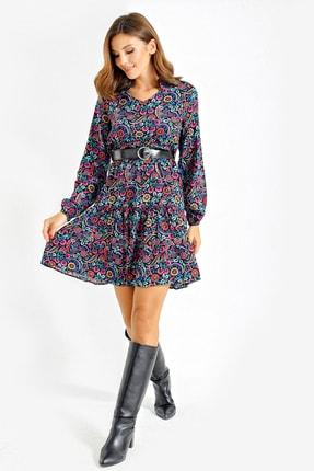 By Saygı Kadın Siyah Çiçekli Kemerli Viskon Elbise S-20Y2060094