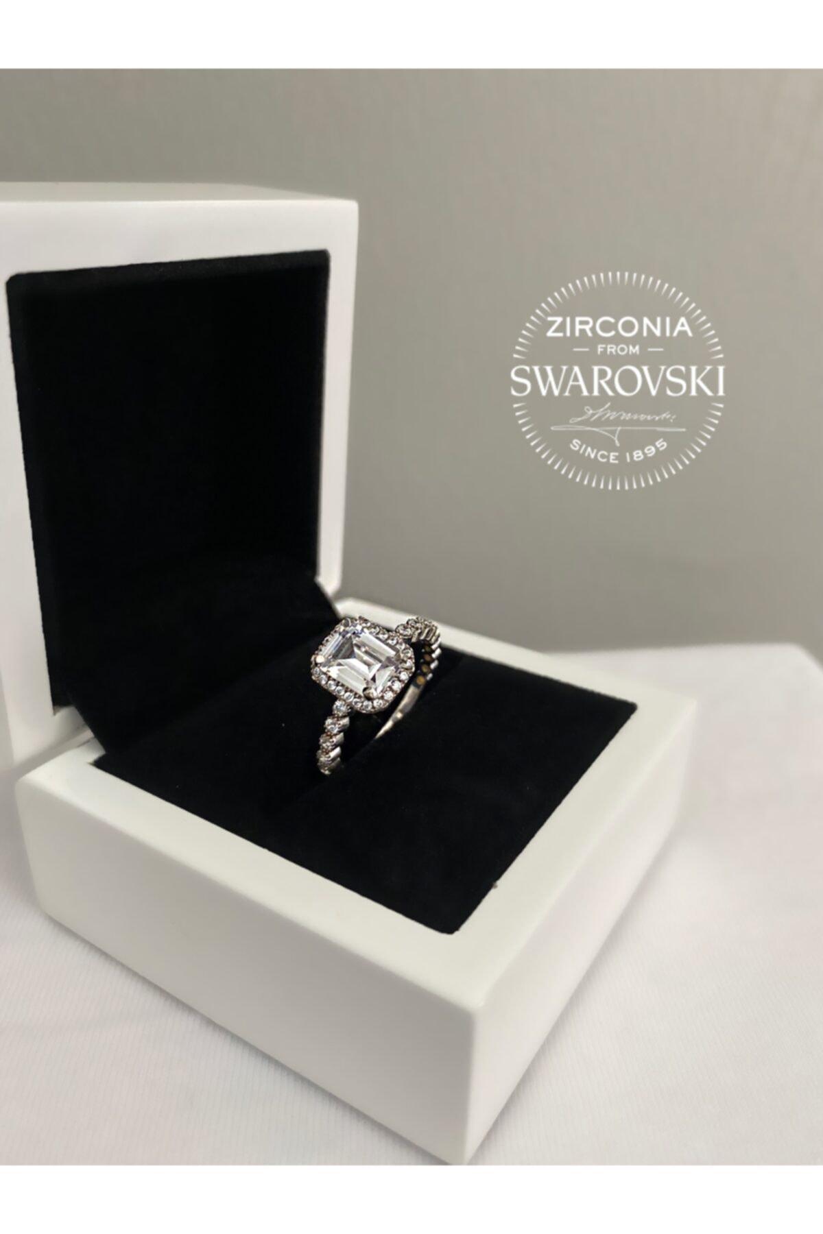 Pella Kuyumculuk Kadın Swarovski Taşlı Baget Gümüş Yüzük 1