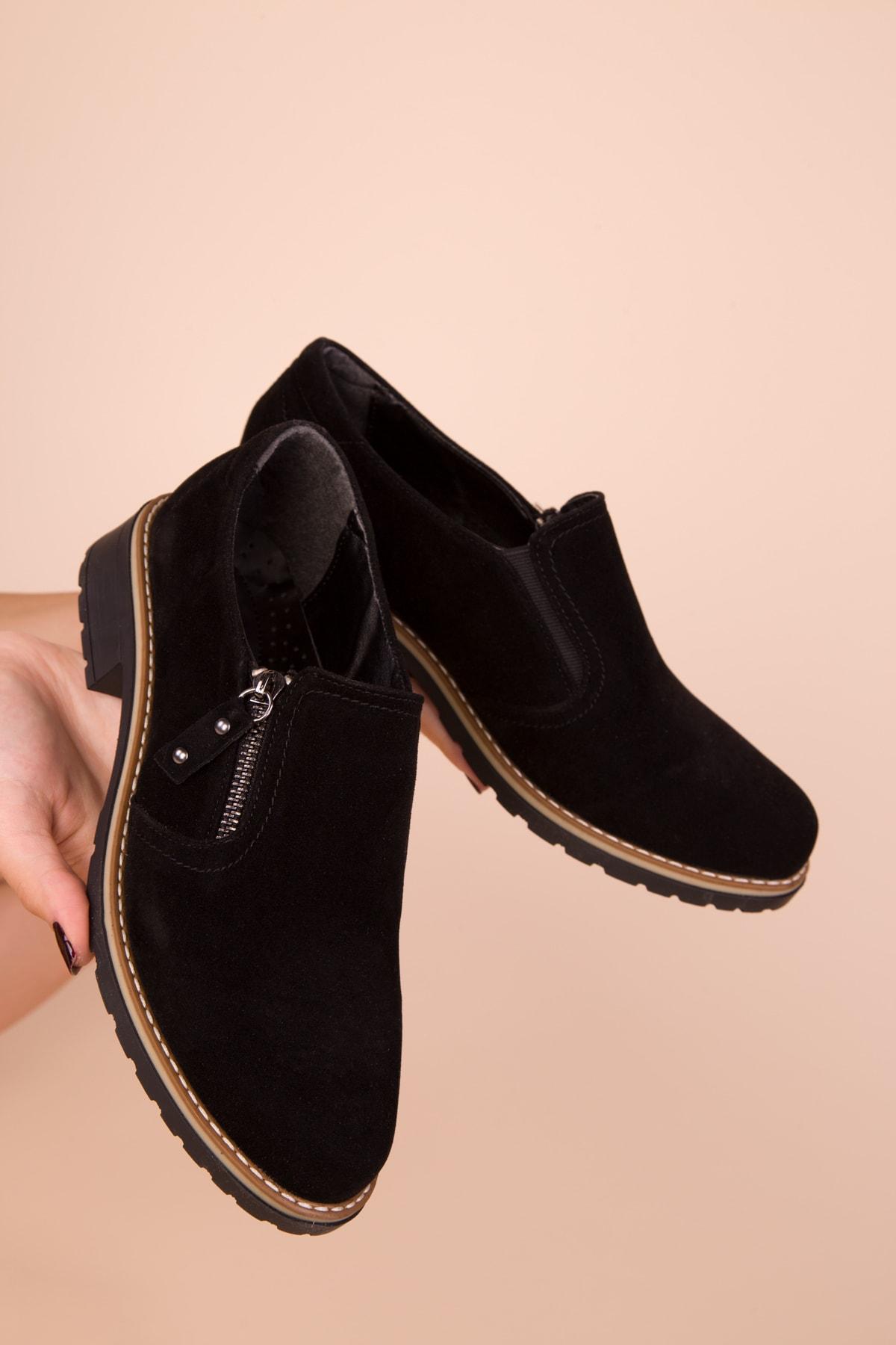 SOHO Siyah Süet Kadın Casual Ayakkabı 15472 2