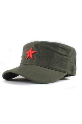 Köstebek Yıldızlı Fidel Castro Che Guevara Şapkası Yeşil Renk