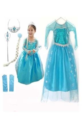 DEHAMODA Kız Çocuk Mavi Uzun Kol Simli Frozen Taç Asa Saç Ve Eldiven Hediyeli Mavi Elsa Elbise