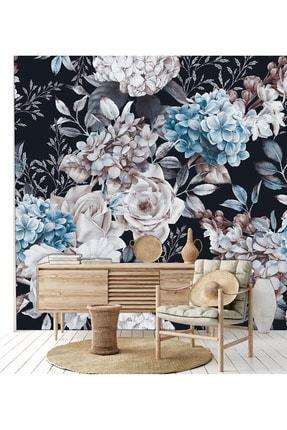 Naz Konsept Siyah Mavi Çiçek Desen Duvar Kağıtları