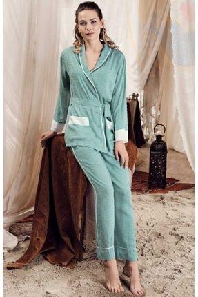 Artış Kadın Çağla Yeşil Kimono Stil Önden Düğmeli Lohusa Pijama Takımı