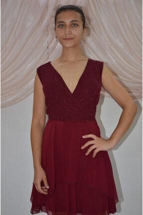 zeynep Kadın Bordo Kruvaze Yaka Çift Kat Şifon Etekli Elbise