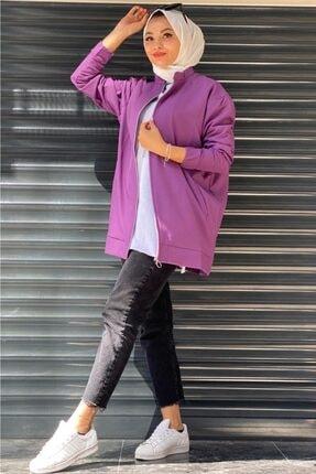 adressbutik Kadın Krep Fermuarlı Ceket Mor