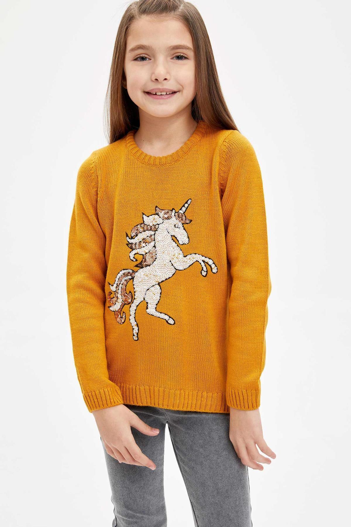 DeFacto Kız Çocuk Unicorn Payet Işlemeli Triko Kazak