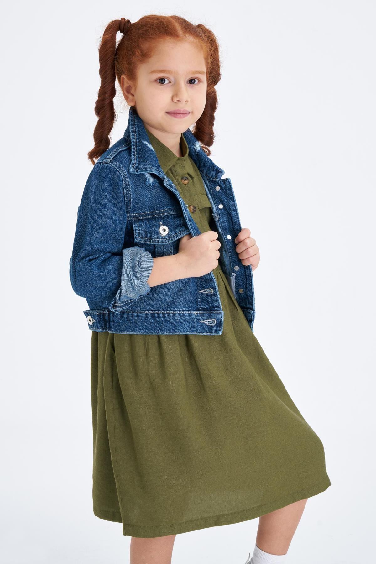 DeFacto Kız Çocuk Mavi Kot Ceket