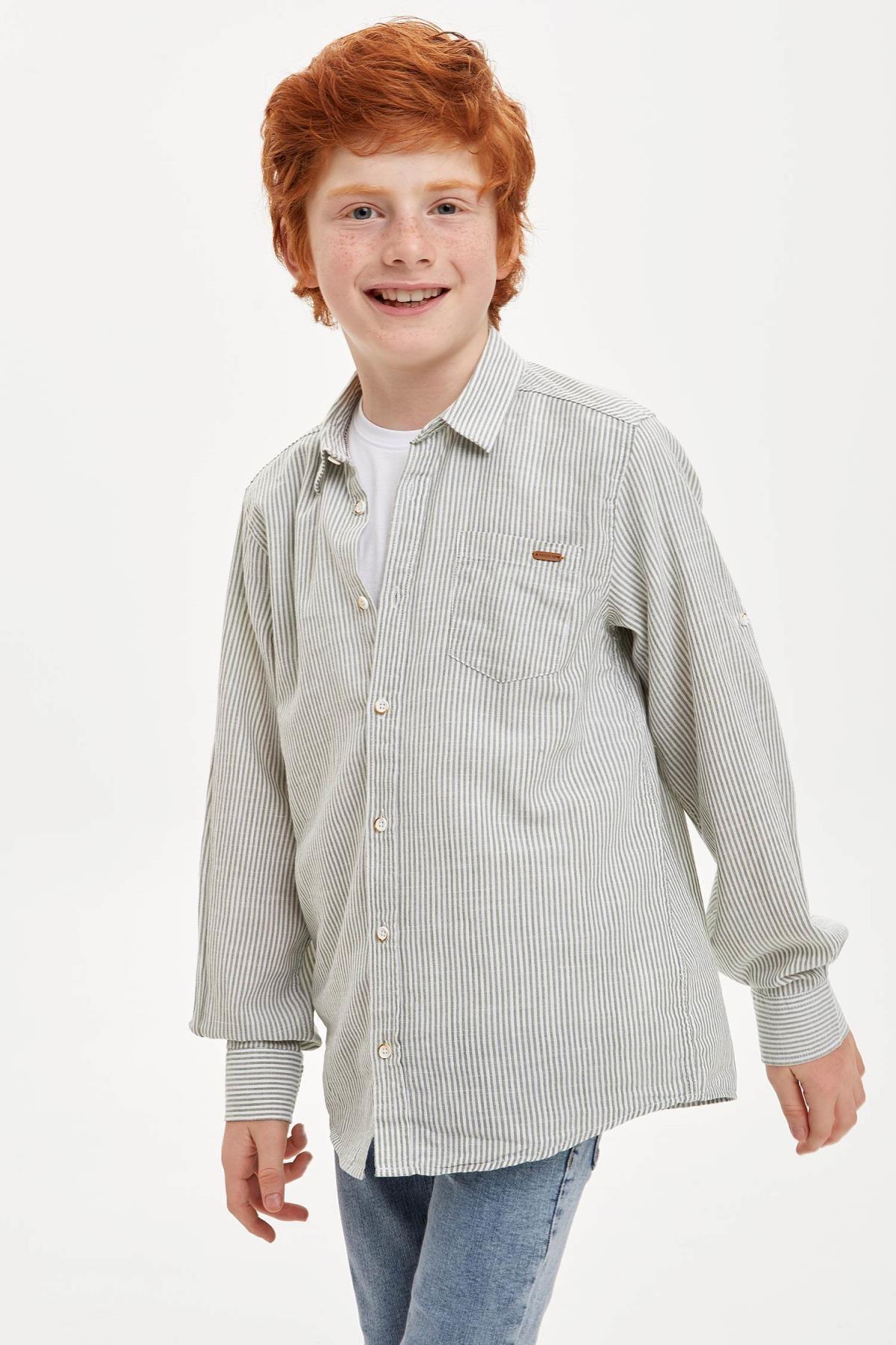 DeFacto Erkek Çocuk Çizgili Kolları Katlanabilir Keten Görünümlü Gömlek M4530A620SPK