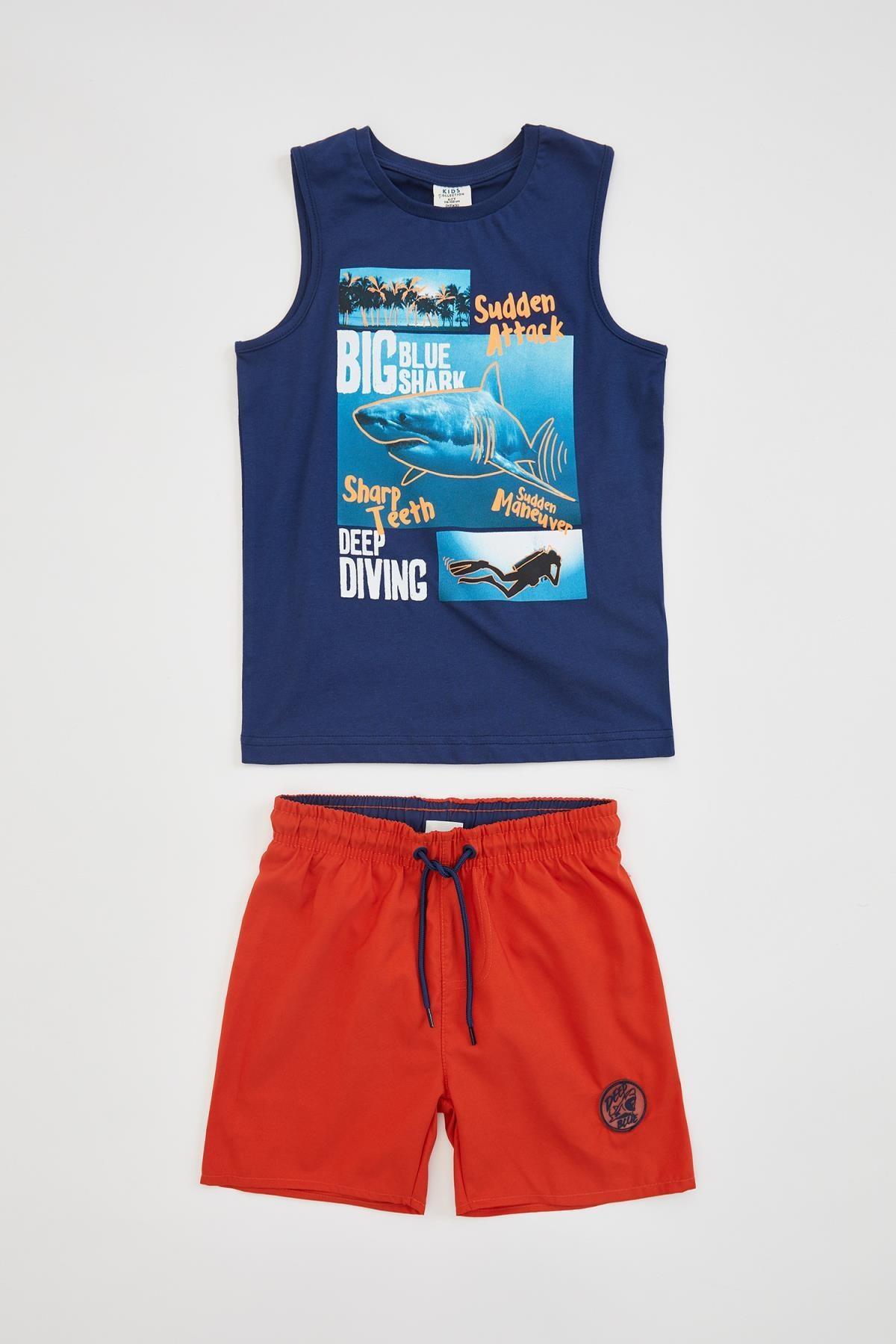 DeFacto Baskılı Atlet ve Deniz Şortu Set