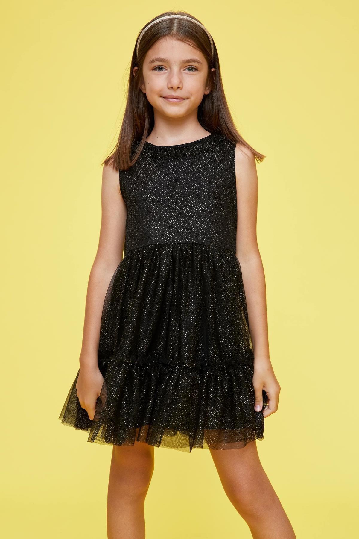 DeFacto Kız Çocuk Büzgülü ve Fırfırlı Elbise