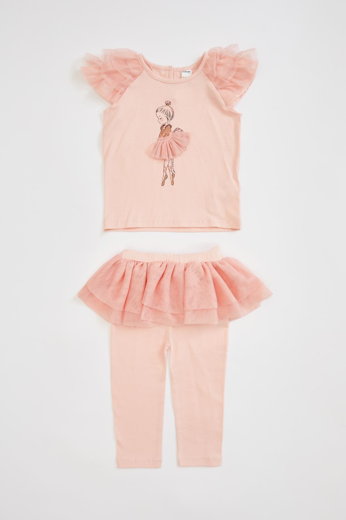 DeFacto Kız Bebek Fırfırlı Tişört Ve Tayt Takım