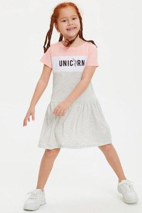 DeFacto Kız Çocuk Unicorn Baskılı Renk Bloklu Örme Elbise