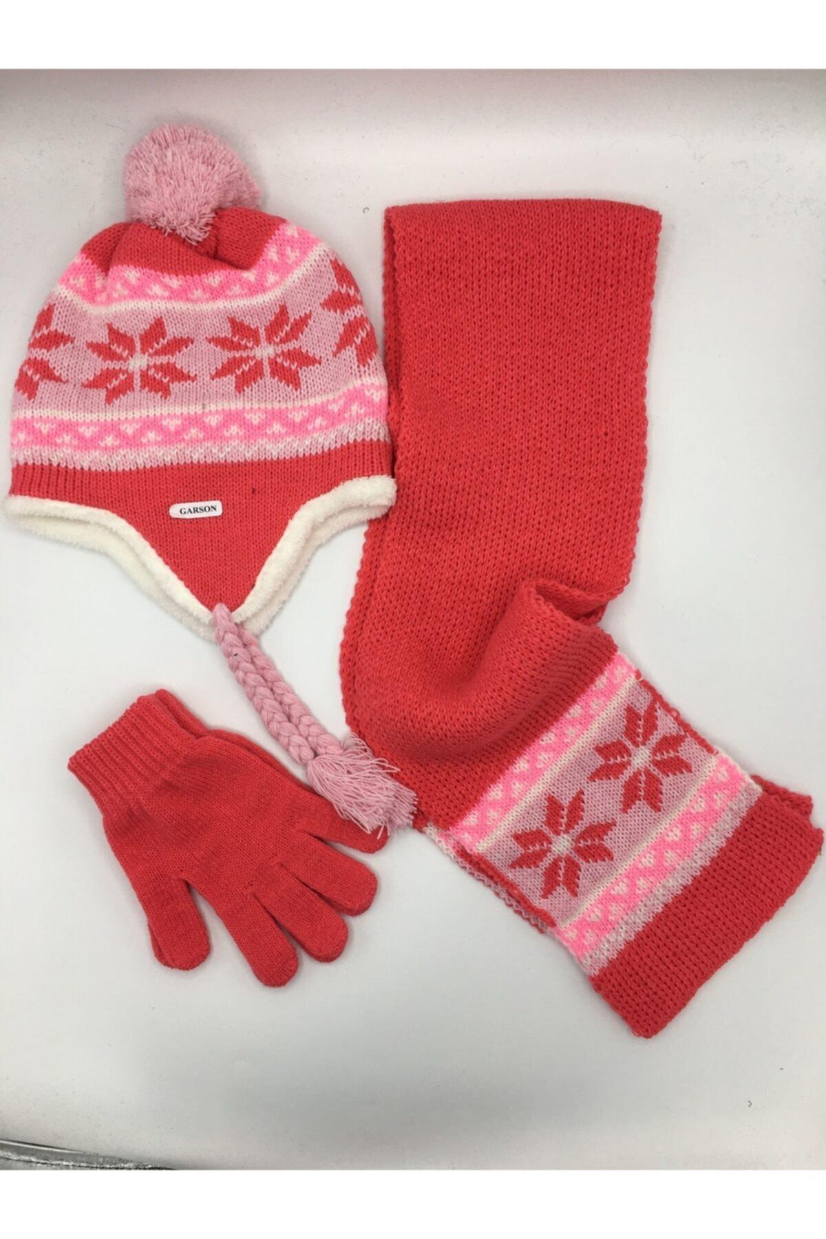 GONCA ŞAPKA Kız Çocuk Atkı-bere-eldiven Seti 1