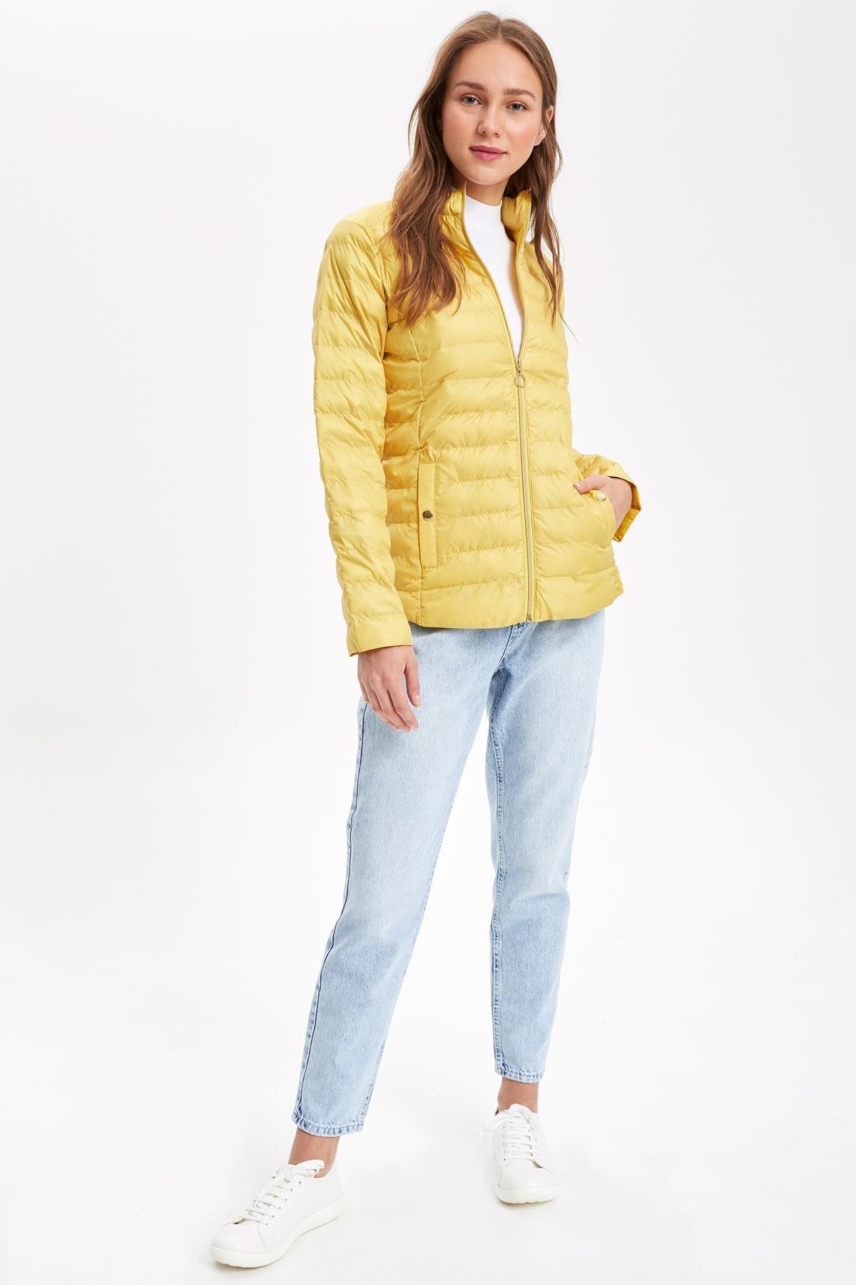 DeFacto Kadın Sarı Fermuarlı Şişme Mont K9904AZ.19SP.YL276