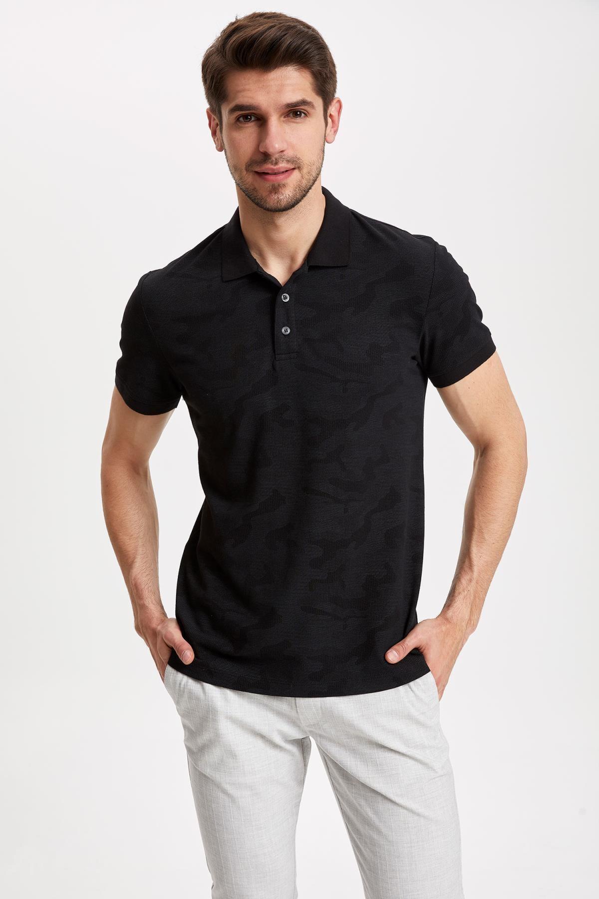 DeFacto Erkek Siyah Desenli Slim Fit Polo T-shirt K3937AZ.19SM.BK27 1