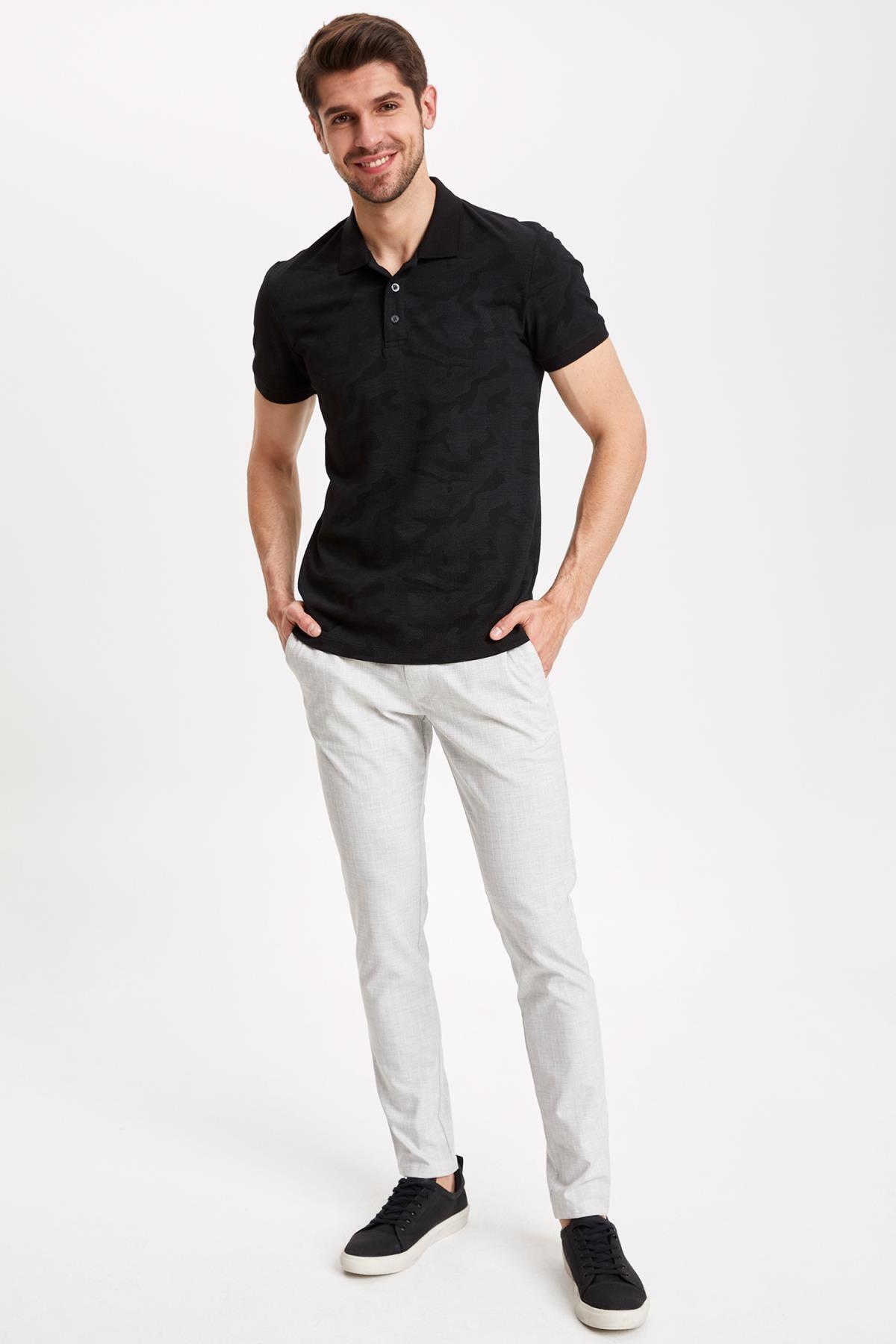 DeFacto Erkek Siyah Desenli Slim Fit Polo T-shirt K3937AZ.19SM.BK27 2