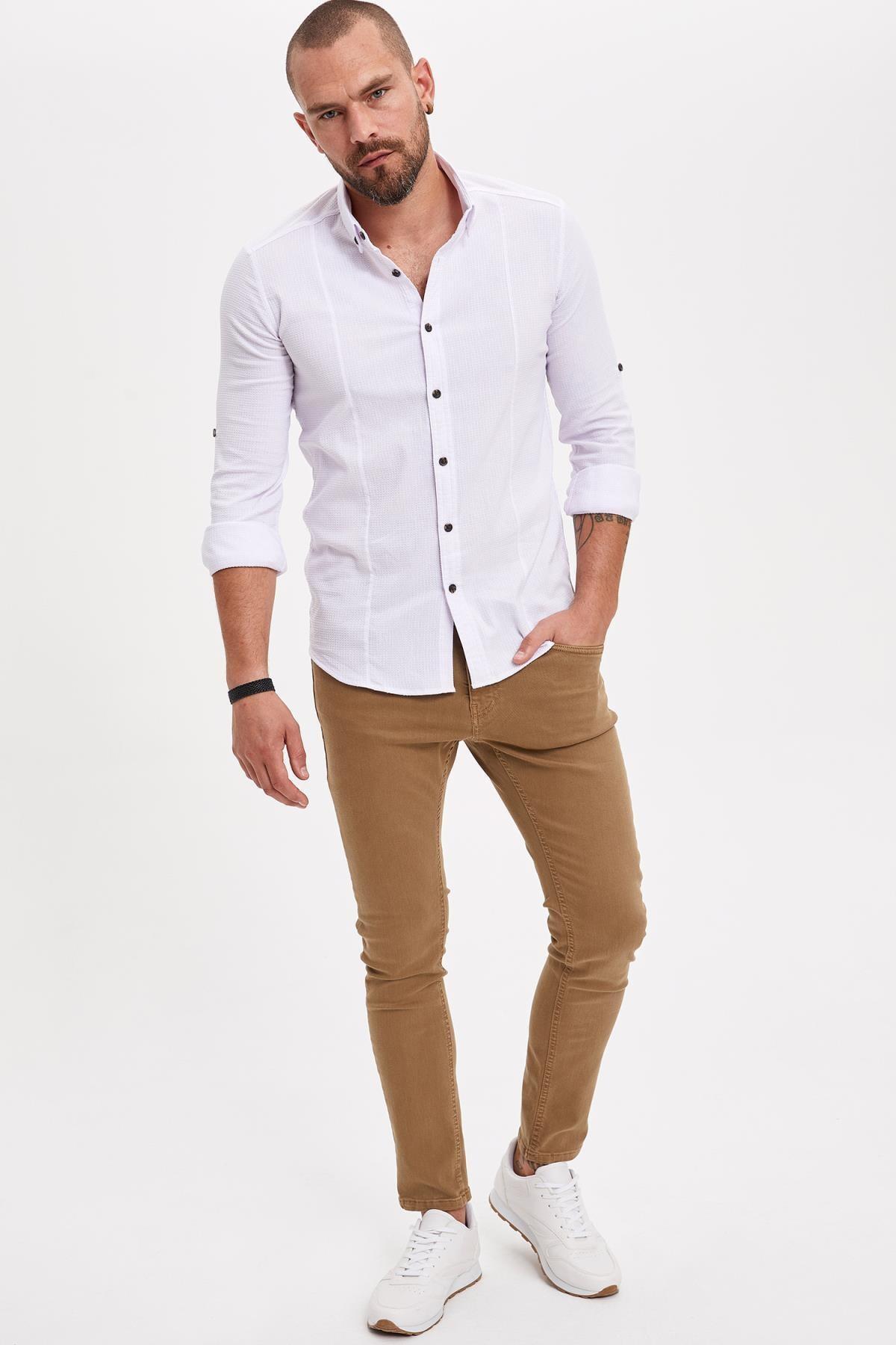 DeFacto Erkek Kahverengi Comfort Fit Skinny Pantolon L8824AZ.19SM.BN103
