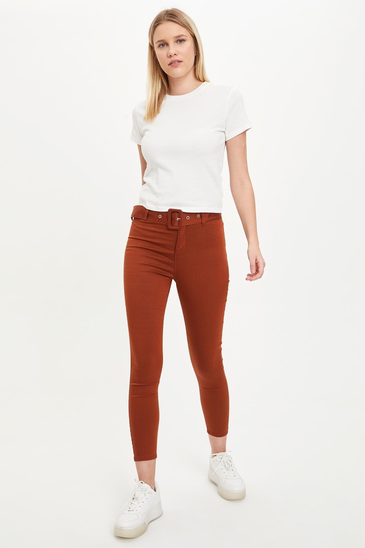 DeFacto Kadın Turuncu Super Skinny Kemerli Pantolon L5942AZ.19SM.OG171