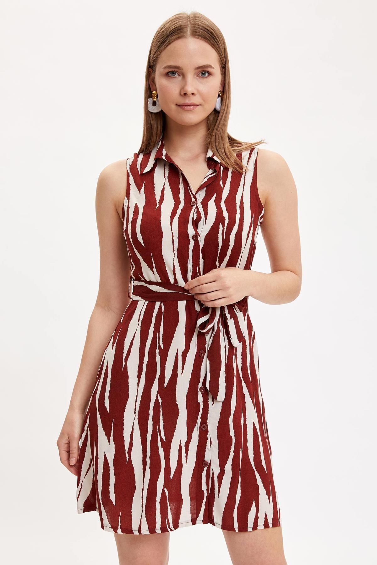 DeFacto Kadın Bordo Desenli Kolsuz Elbise L9291AZ.19SM.BR42