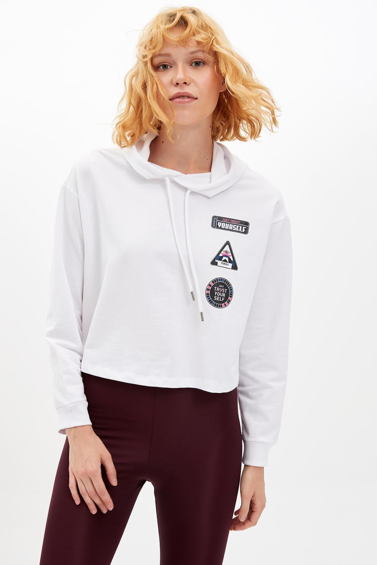DeFacto Kadın Beyaz Baskılı Kapüşonlu Sweatshirt M0660AZ.19AU.WT34
