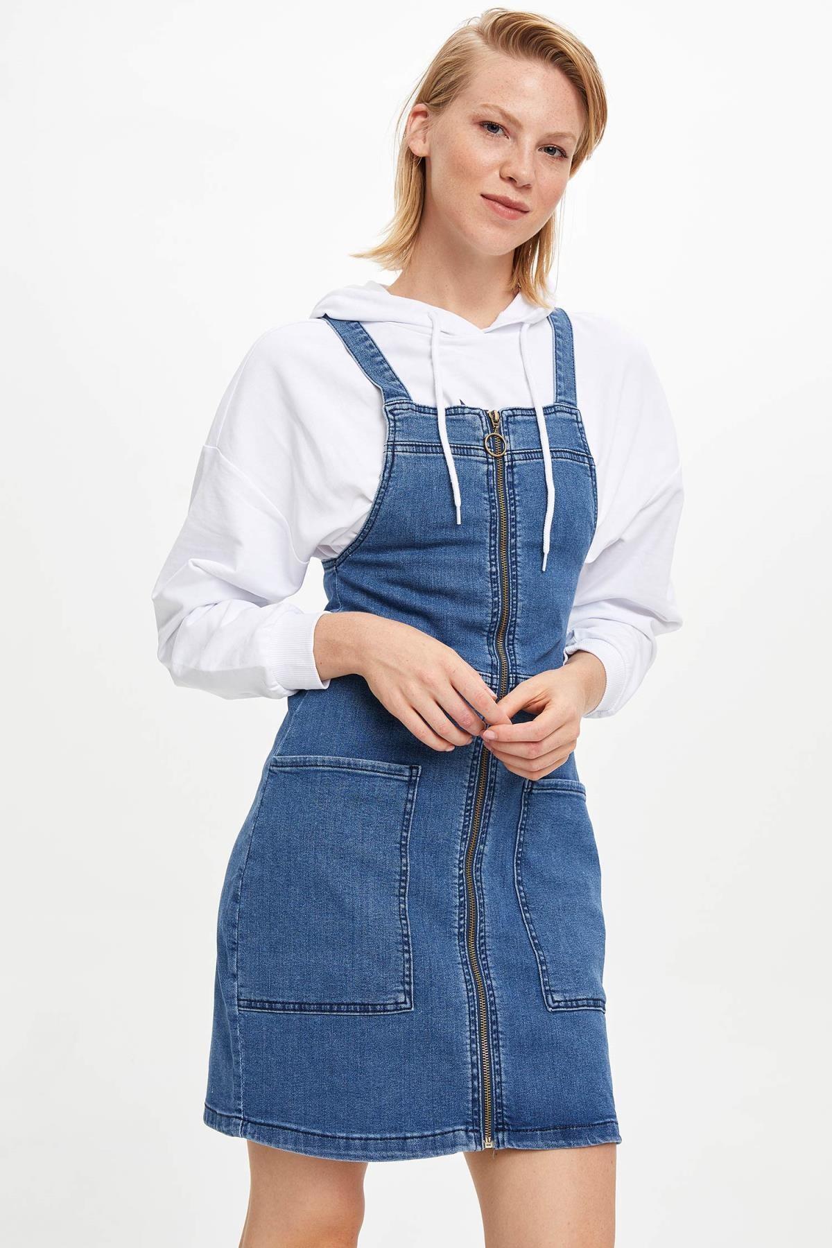 DeFacto Kadın Mavi Kot Jean Elbise I6157AZ.19AU.NM28