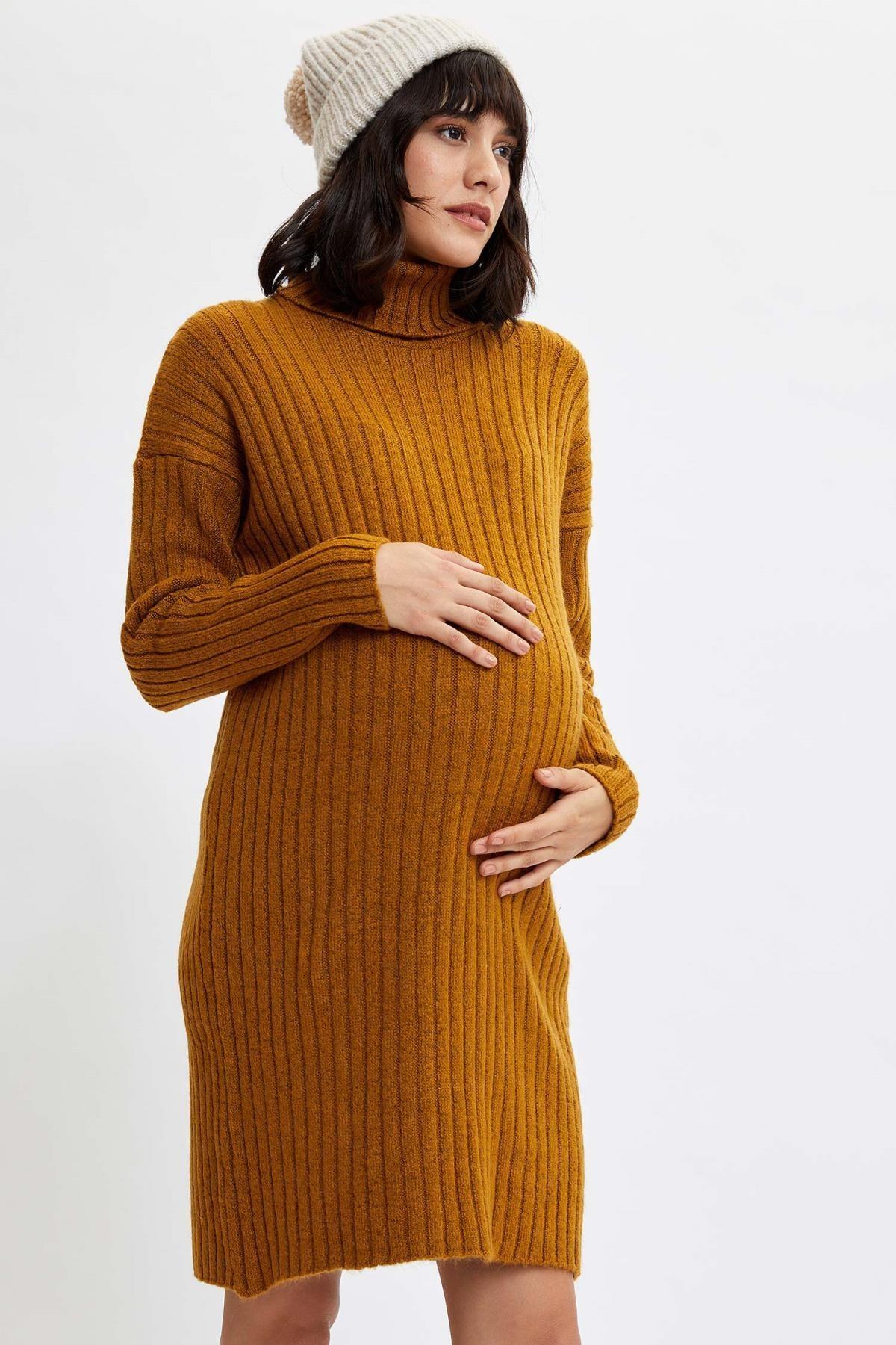 DeFacto Kadın Sarı Relax Fit Balıkçı Yaka Hamile Elbisesi M3037AZ.19WN.YL37