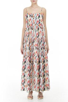 Emporio Armani Kadın Beyaz Desenli Askılı Maxi Kadın Elbise