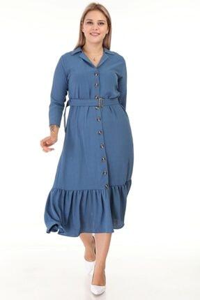 Lir Kadın Indigo   Büyük Beden Eteği Büzgü Önü Düğmeli Kemerli Truvakar Kol Elbise