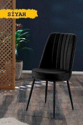 MYMASSA Gold Sandalye Siyah - Metal Siyah Ayaklı