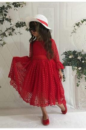 Mixie Kız Çoçuk Kırmızı Şapkalı Güpürlü Prenses Model Elbisesi