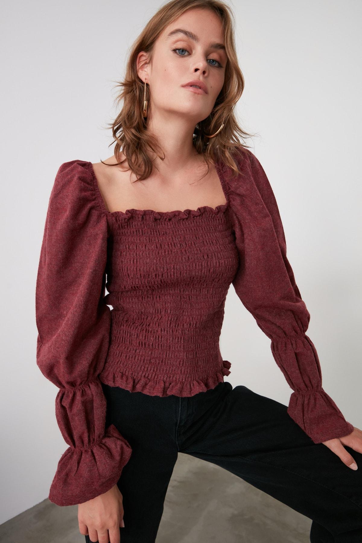 TRENDYOLMİLLA Bordo Crop Bluz TWOAW20BZ0921 1