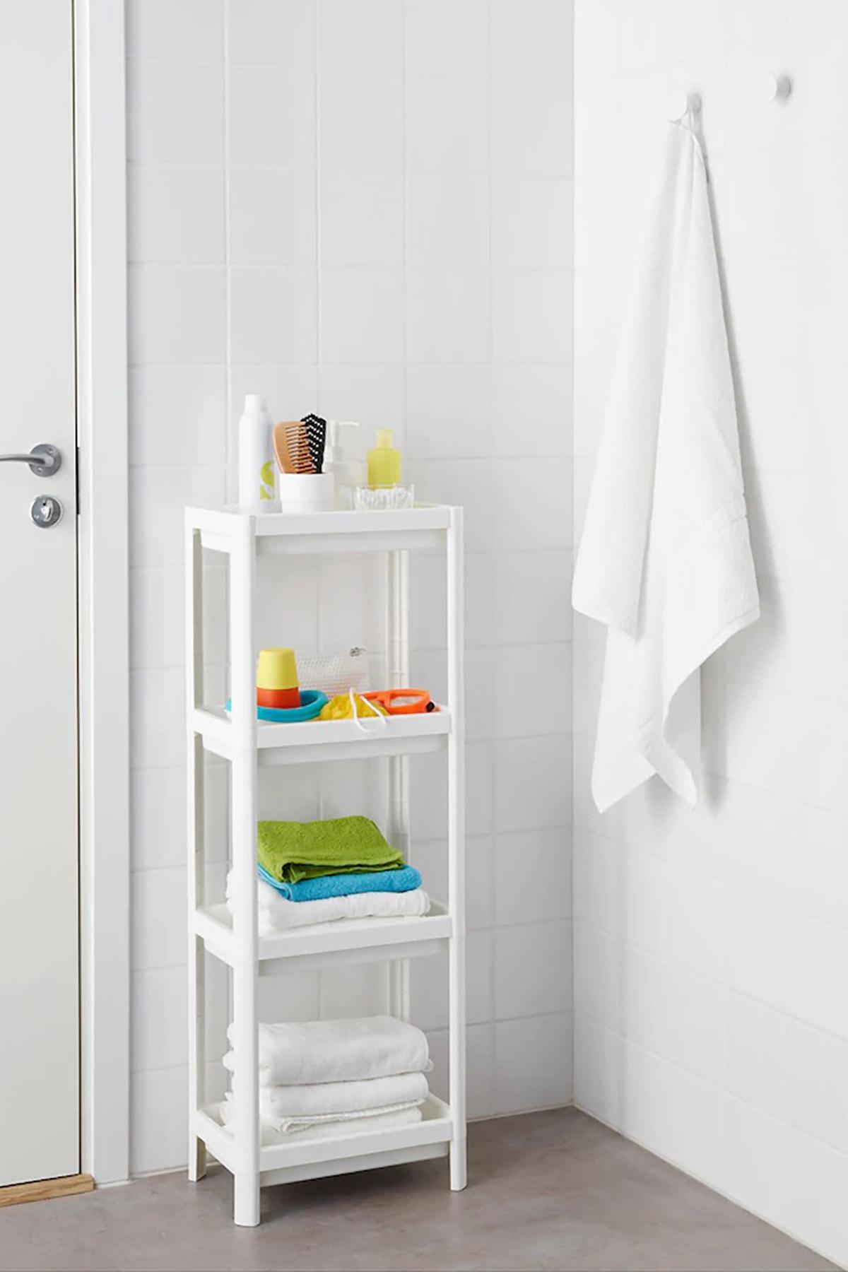 Pazarika Vesken 3 Bölmeli Banyo Raf Ünitesi Beyaz 1