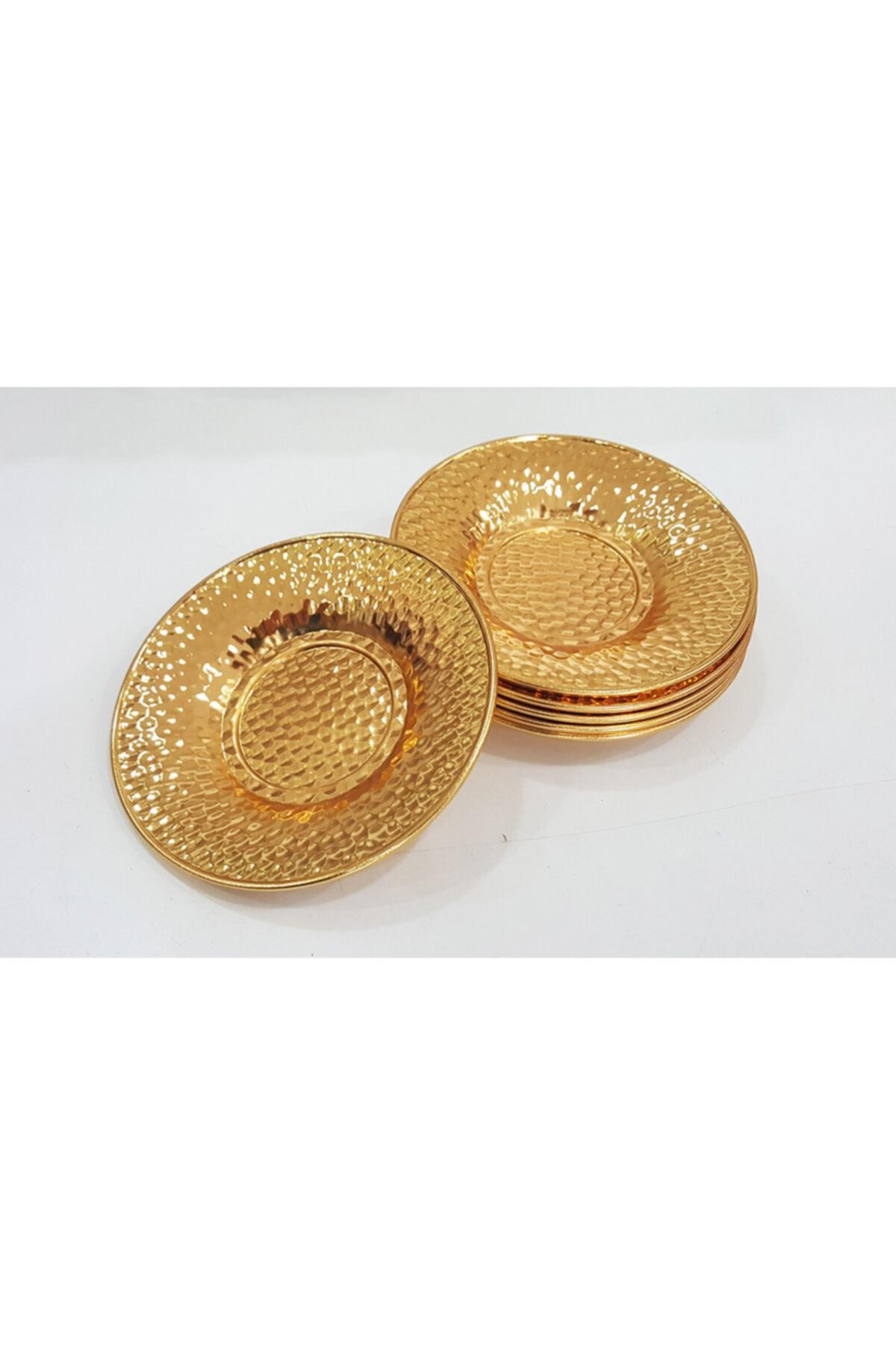 Manor 6 Adet Altın Gold Renk Çukur Nokta Desen Metal Çay Tabağı 1
