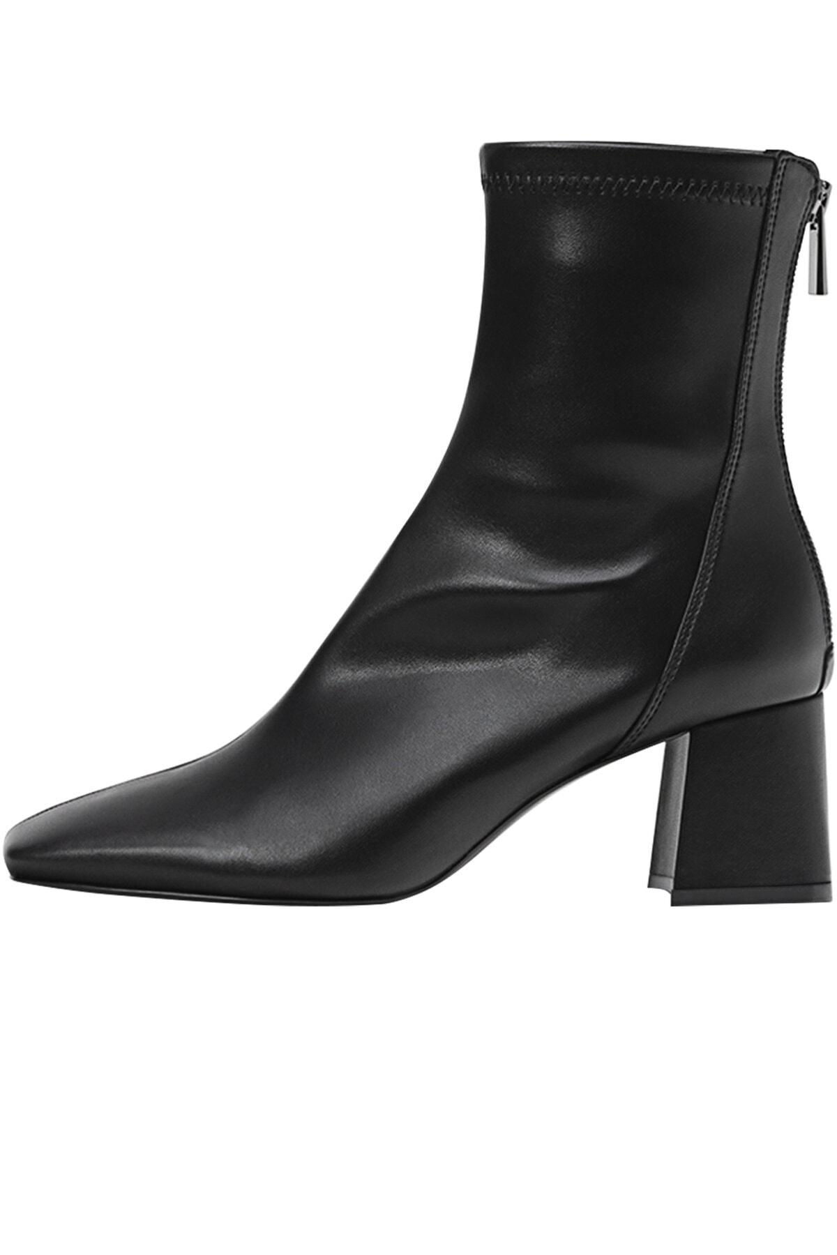 Stradivarius Kadın Siyah Streç Bilekli Orta Boy Topuklu Bot 19902670 1