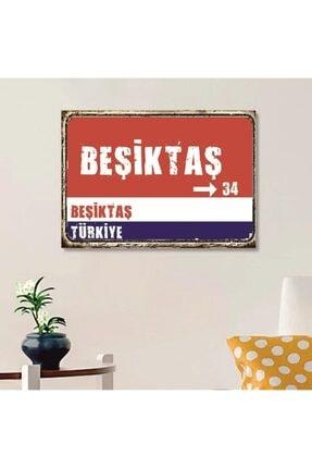 FERMAN HEDİYELİK Beşiktaş Tabelası Ahşap Retro Poster 17,5x27,5 Cm