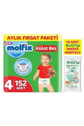 Molfix Külot Bez 4 Beden Maxi Aylık Fırsat Paketi 152 Adet + Evony Maske 10'lu Hediyeli