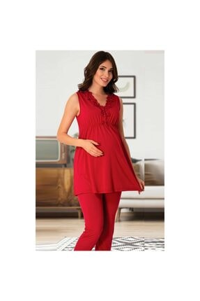 Effort Pijama Kadın Kırmızı Lohusa Pijama Takım
