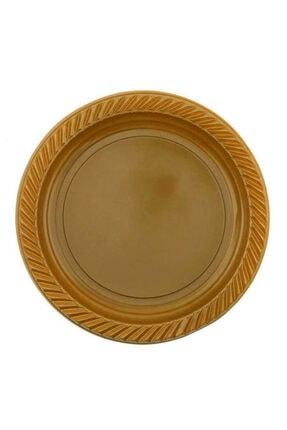 whiteavm Tabak Plastik Yuvarlak 22 cm Altın Renk Pk:25