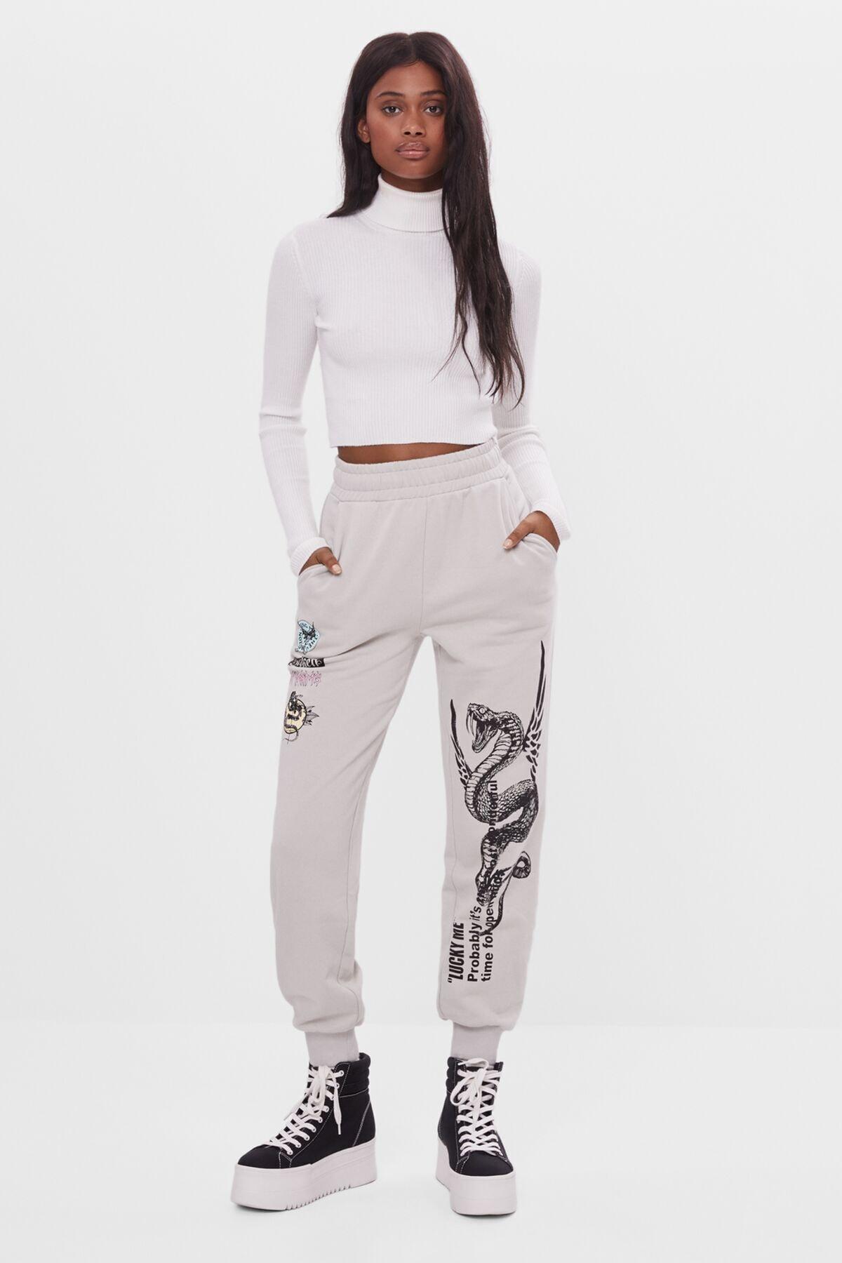 Bershka Kadın Baskılı Jogging Fit Pantolon 1