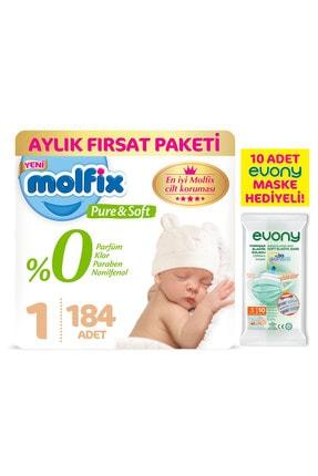 Molfix Pure Soft 1 Beden Yenidoğan Aylık Fırsat Paketi 184 Adet ve Evony Maske 10 lu