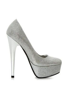 RUBRICA Kadın Gümüş Simli Topuklu Ayakkabı Ma 008