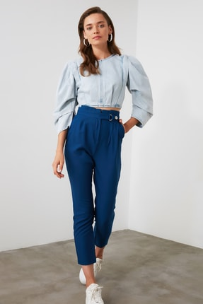 TRENDYOLMİLLA Lacivert Çıtçıtlı Pantolon TWOSS20PL0131