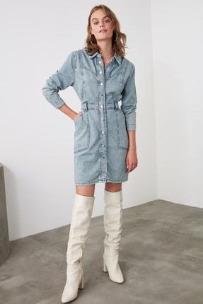 TRENDYOLMİLLA Mavi Dikiş Detaylı Denim Elbise TWOAW21EL1423